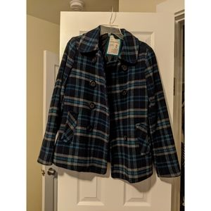 | blue plaid peacoat |